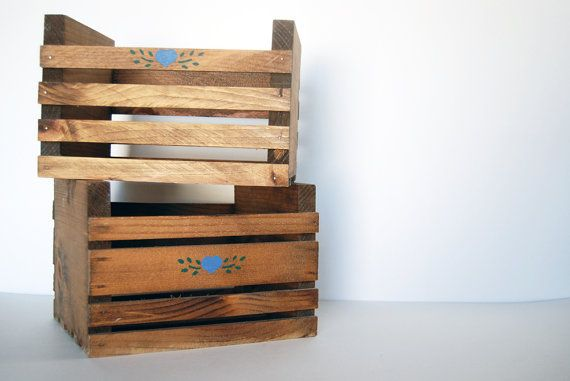set of two (2) vintage wooden flower box crates with blue and green painted hearts #woodenflowerboxes