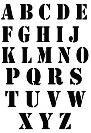 Pochoir adh sif 60 x 20 cm alphabet factory 5 cm par lettre pochoir tissus pochoir - Grande lettre alphabet a imprimer ...