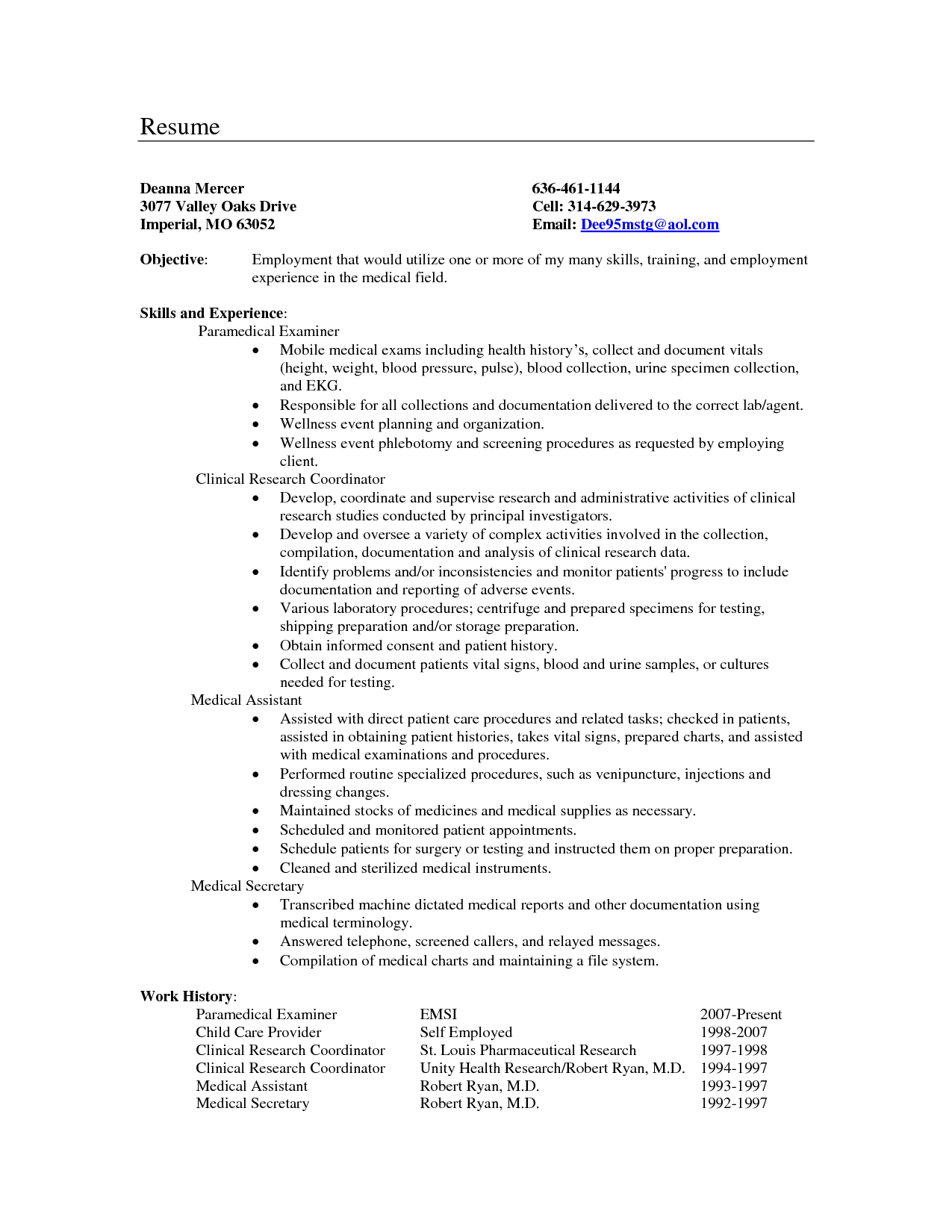 Medical Secretary Resume Objective Examples | Resumes | Pinterest ...