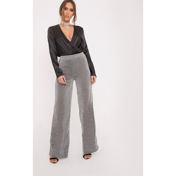 Krystle Silver Metallic Palazzo Trousers ($12) ❤ liked on Polyvore featuring pants, grey, palazzo pants, cropped trousers, metallic trousers, silver metallic pants and palazzo trousers
