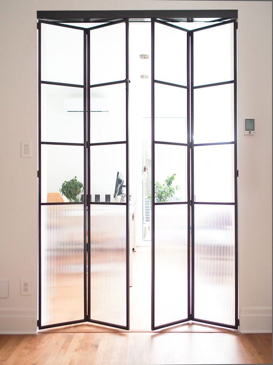 Dubbele Stalen Vouwdeuren Met Heel Veel Glas Vouwdeuren Stalen Deuren Deuren Interieur