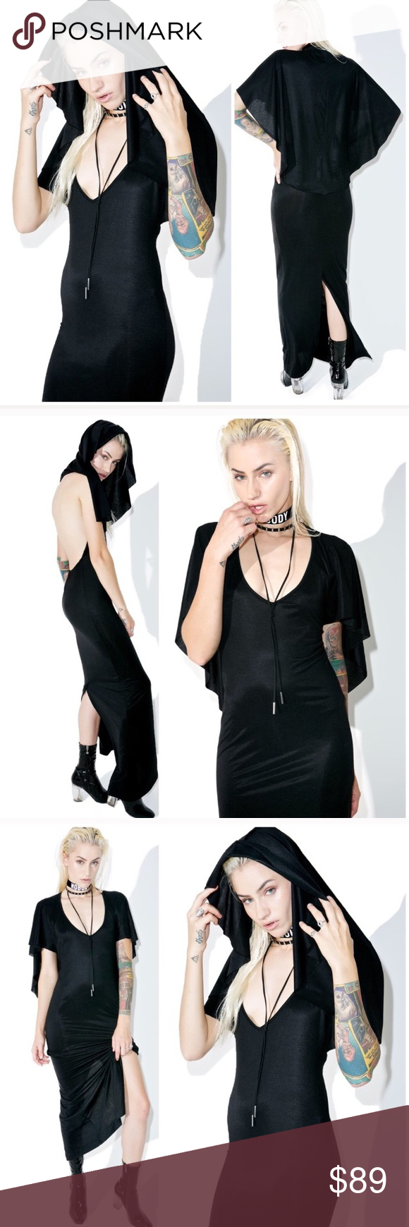 Gothic witch hooded black dress lip service widow boutique vampire