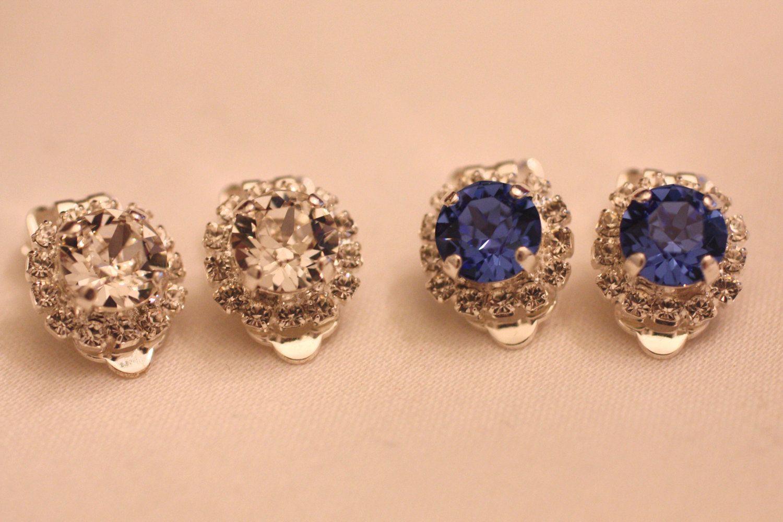 Clip On Halo Swarovski Rhinestone Earring Choice Sapphire