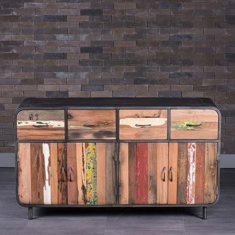 Four Door And Four Drawer Sideboard Made Of Metal And Recycled Wood From Old Fishing Boats At Home Furniture Store Furniture Decor Organic Furniture