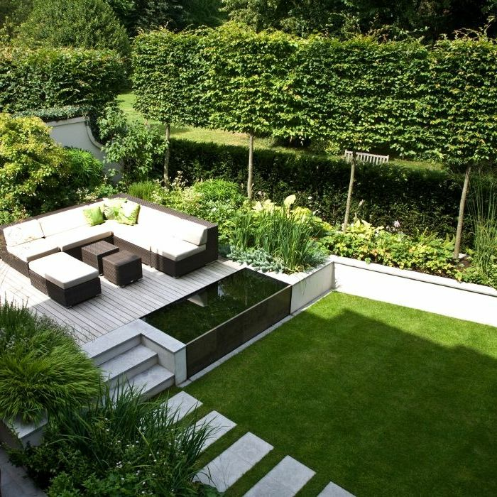 Le jardin paysager tendance moderne de jardinage for Mobilier jardin terrasse