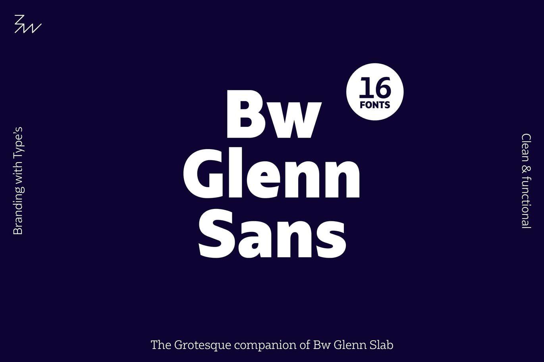 Bw Glenn Sans font family by bwtype on Envato Elements
