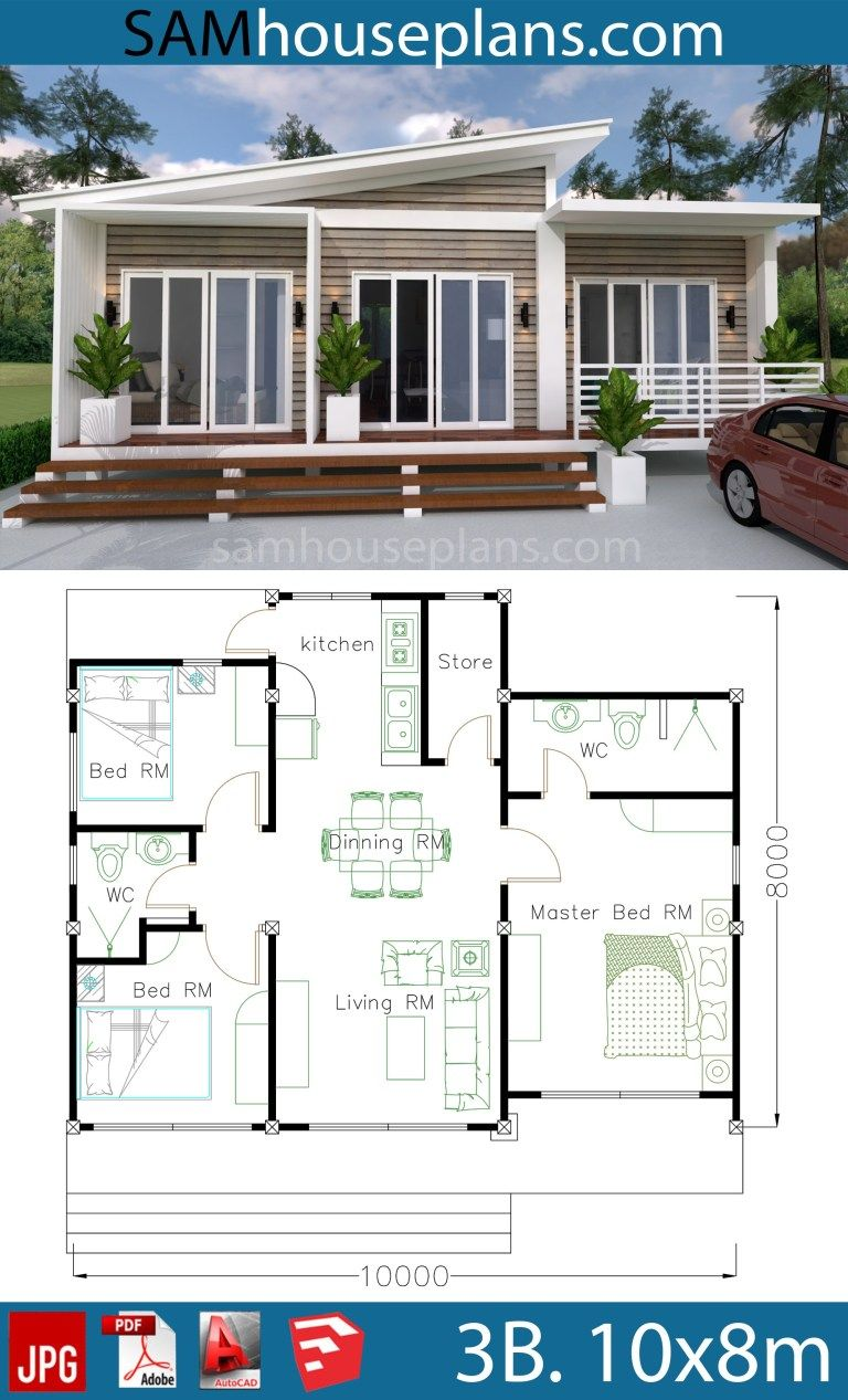 House Plans 10X8M with 3 Bedrooms in 2020 Beach house