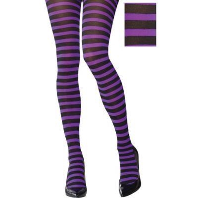 Adult Womens Purple & Black Striped Tights Halloween Costume black/purple