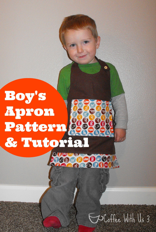 Boy's Apron Pattern & Tutorial- Free pattern and tutorial to make a reversible boy's apron
