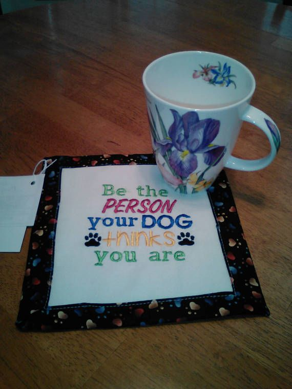 Mug rug snack mat hot pad beverage mat dog coaster fabric