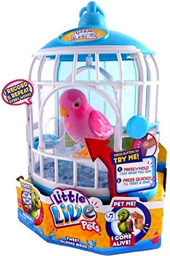 Little Live Pets Rare Pink Bird In Cage Tweet Talking Bird