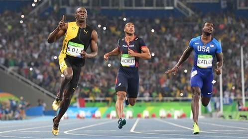 Olympic 100 meter final (8/14/16, Rio 2016) - Usain Bolt (Jamaica) wins third straight Gold Medal in 100m with 9.81s time.  Justin Gatlin (USA) wins silver.