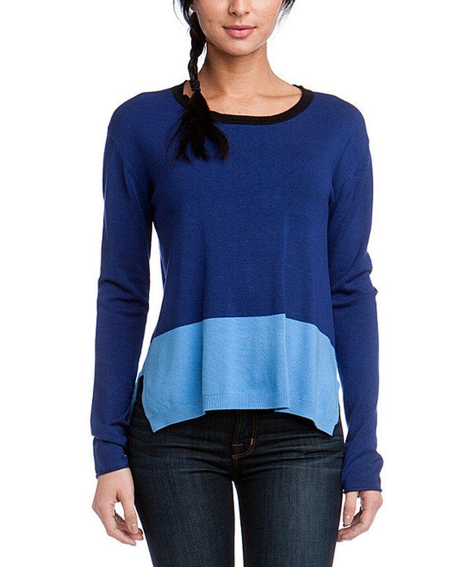 Loving this Larsen Grey Navy Color Block Long-Sleeve Sweater on ...
