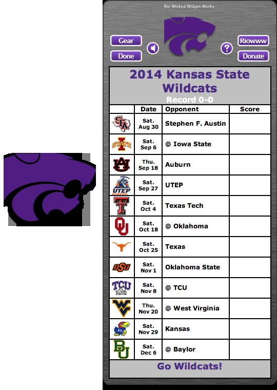 Free 2014 Kansas State Wildcats Football Schedule Widget