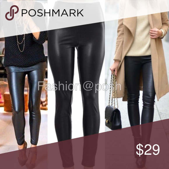 2cdff90ae624b4 Matte leather leggings faux leather BLACK Matte finish Back Sexy Vegan Faux  leather leggings. Perfect fit. Elastic waistband.Trendy. Medium weight.