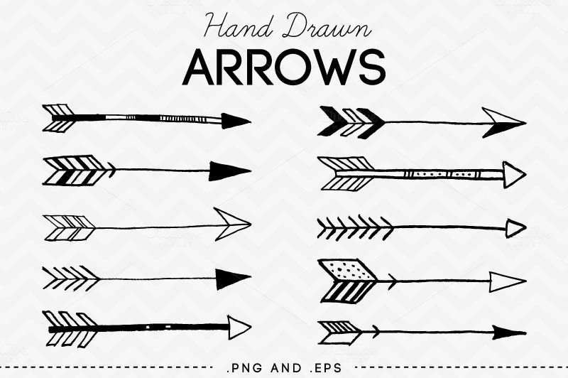 set of 10 hand drawn arrows you will receive high resolution