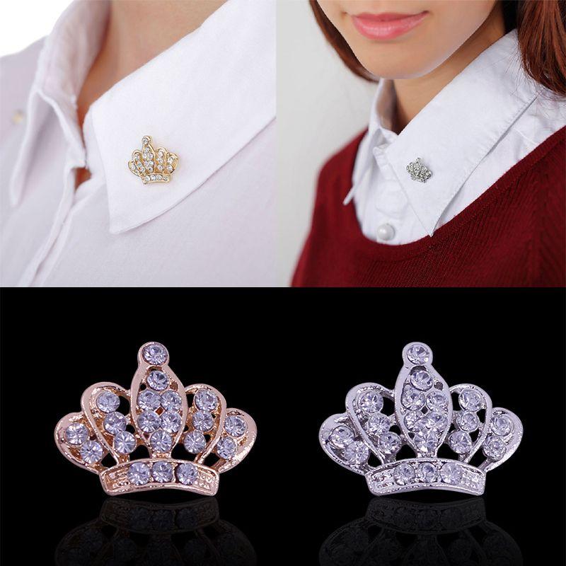 Hot 2 Kleuren Vrouwen Crown Broche Strass Kristal Breastpin Kraag Pin Sieraden vrouwen tas pin badge broches de strass luxo