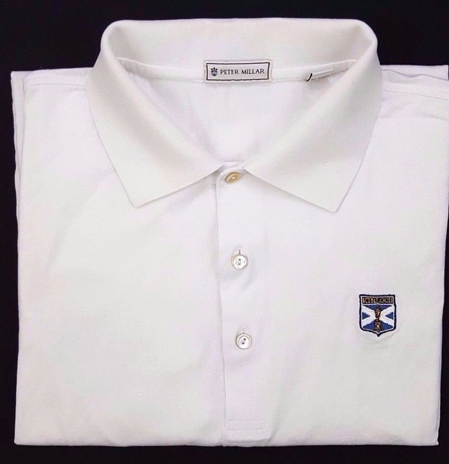 30abbe289378 PETER Millar WHITE Polo SHIRT Large COTTON Mens KINLOCH Golf CLUB Size SZ  Man     PeterMillar  PoloRugby