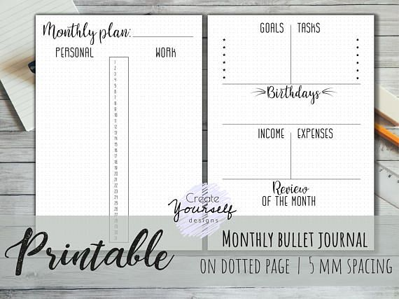 Printable bullet journal - printable dot grid planner, bullet ...