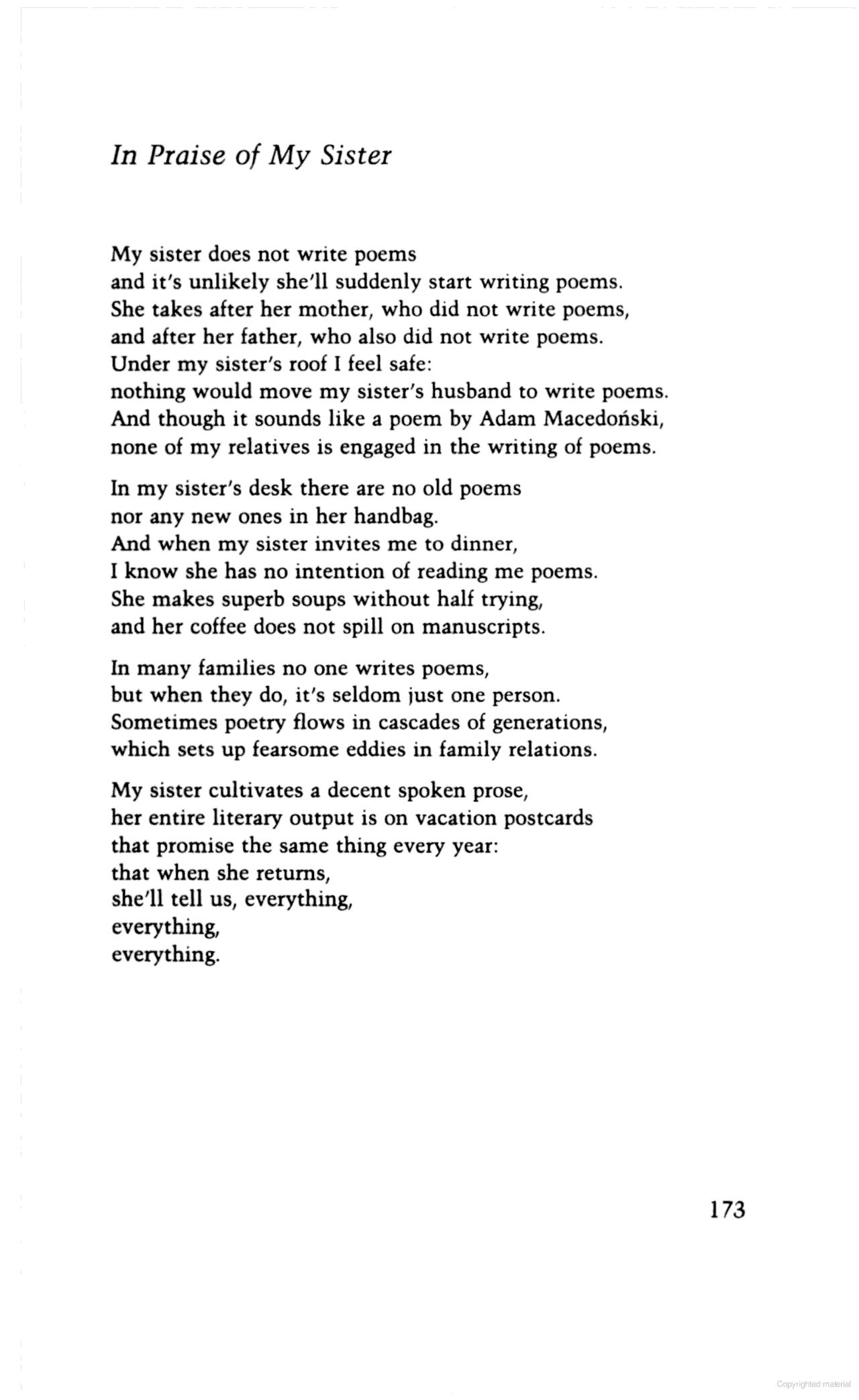 "In Praise Of My Sister"" Wislawa Szymborska Writing Poems Runs In"