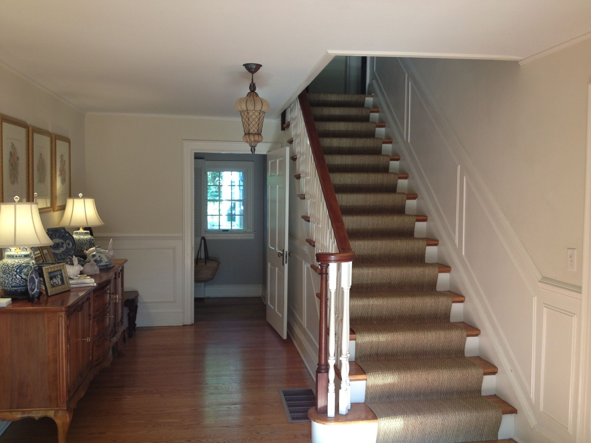Best Center Hall Colonial Seagrass Runner On Stairs Center 640 x 480