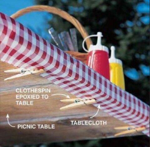 Diy Tablecloth Clips Picnic Table Table Cloth Diy Tablecloth