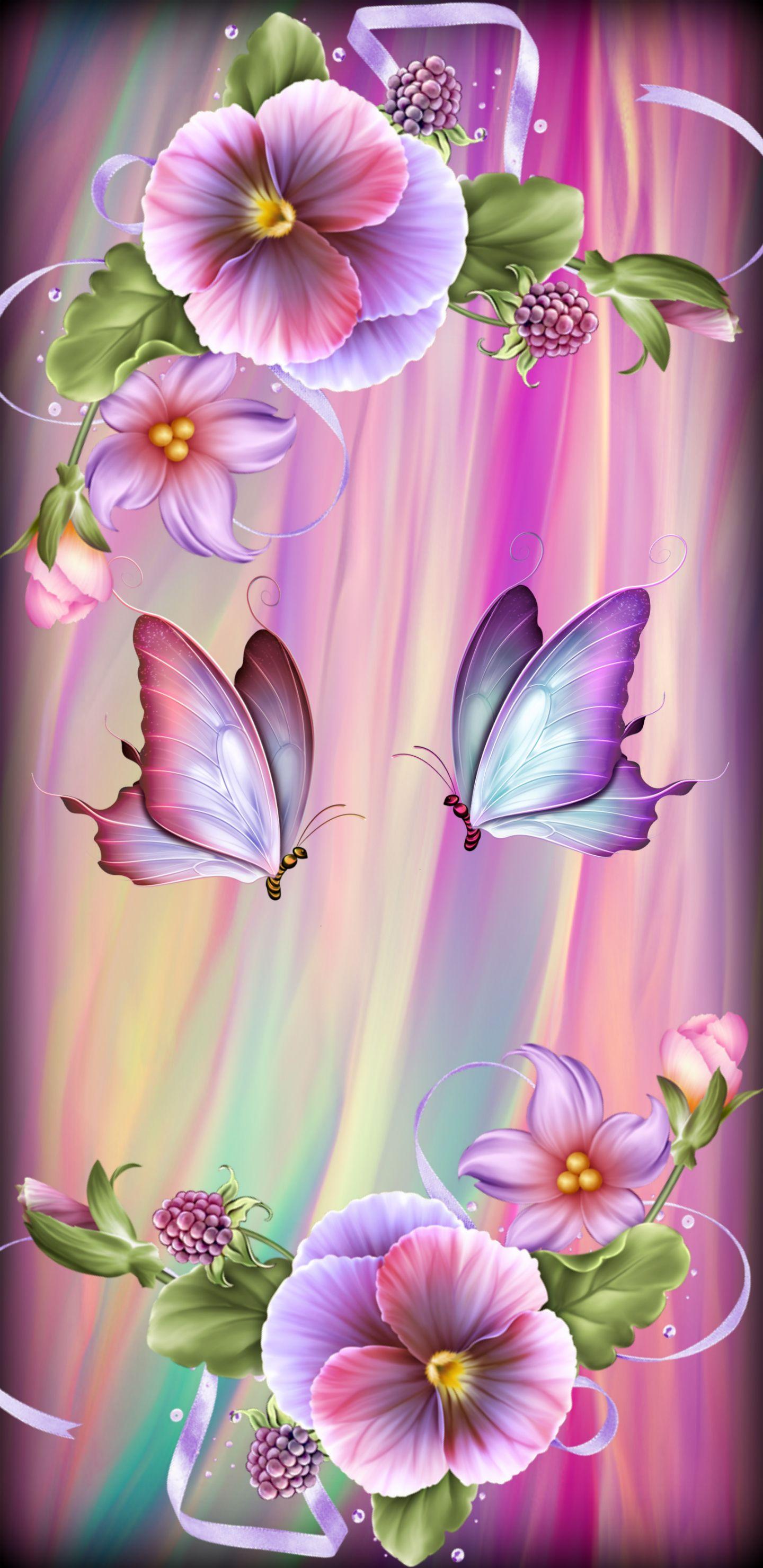 Rainbow Butterflies Flower Background Wallpaper Flowery Wallpaper Butterfly Wallpaper Backgrounds Fantastic live flower wallpaper