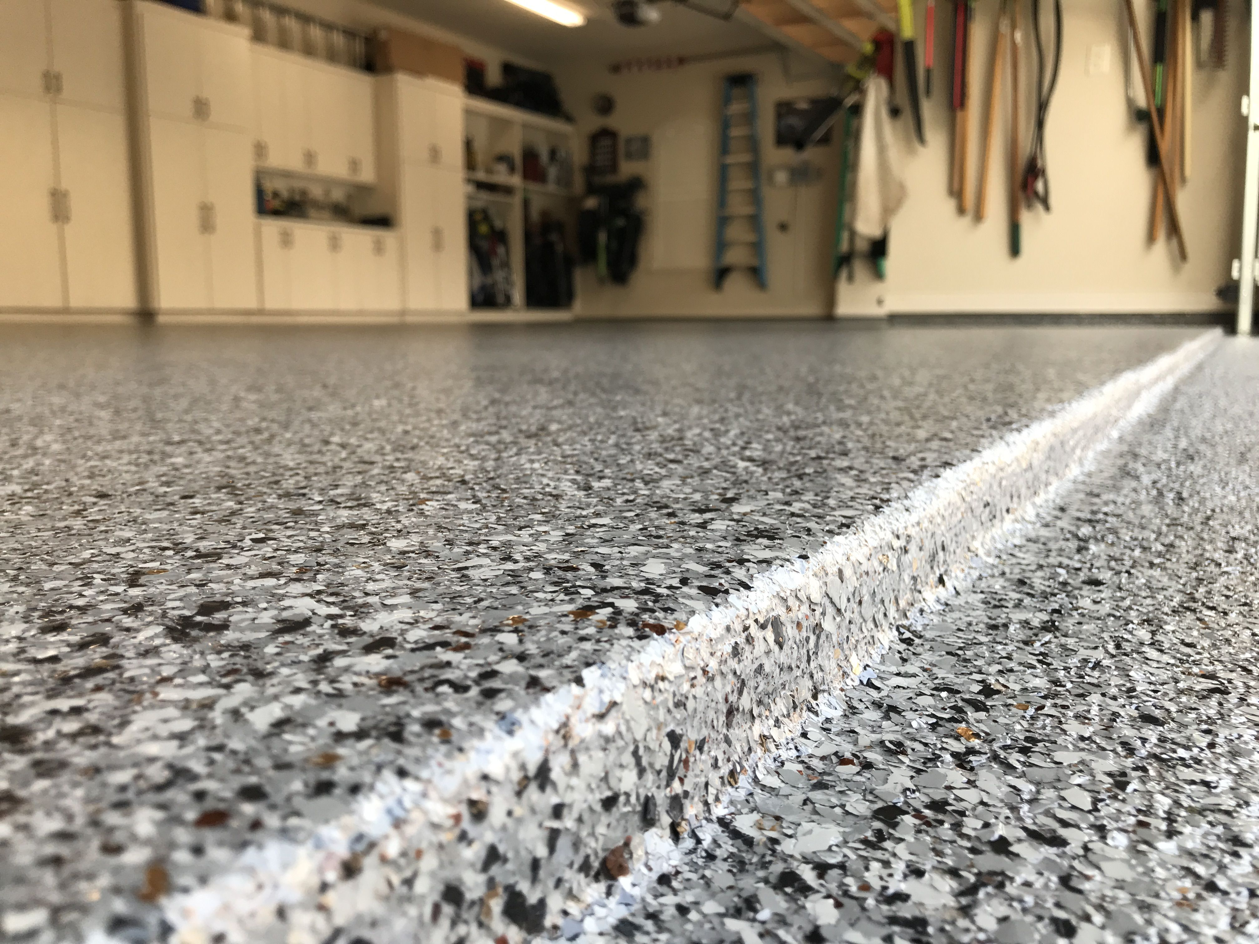 Epoxy And Polyaspartic Flake Garage Floor In The Reserve Of