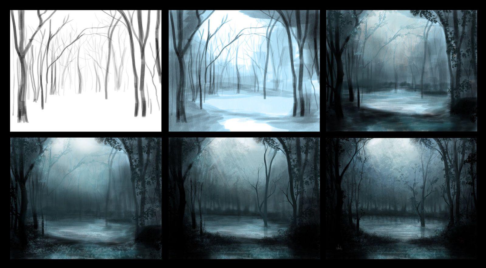 Mystical forest process by Azot2014.deviantart.com on @deviantART