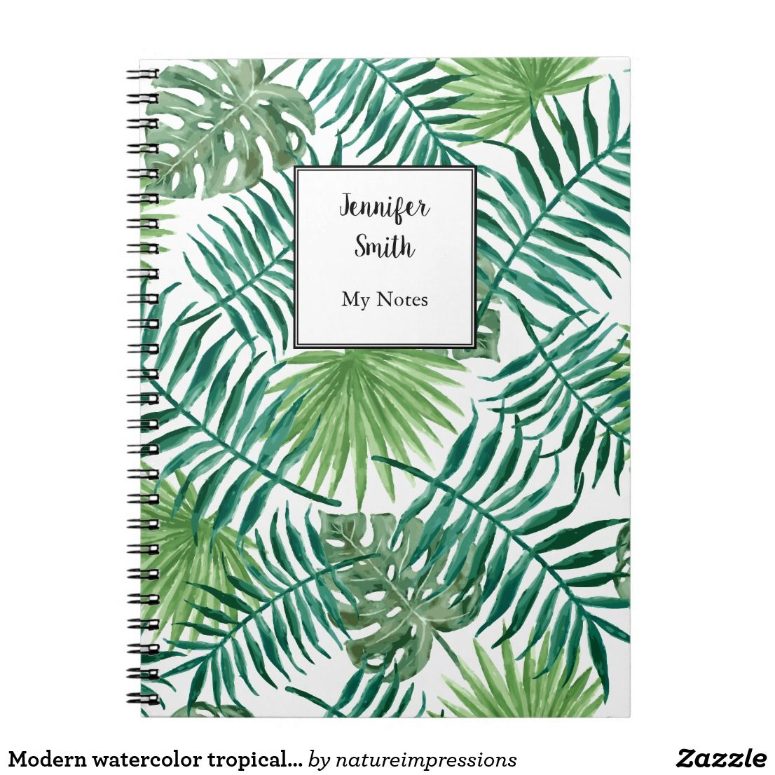 Modern watercolor tropical leaves personalized notebook