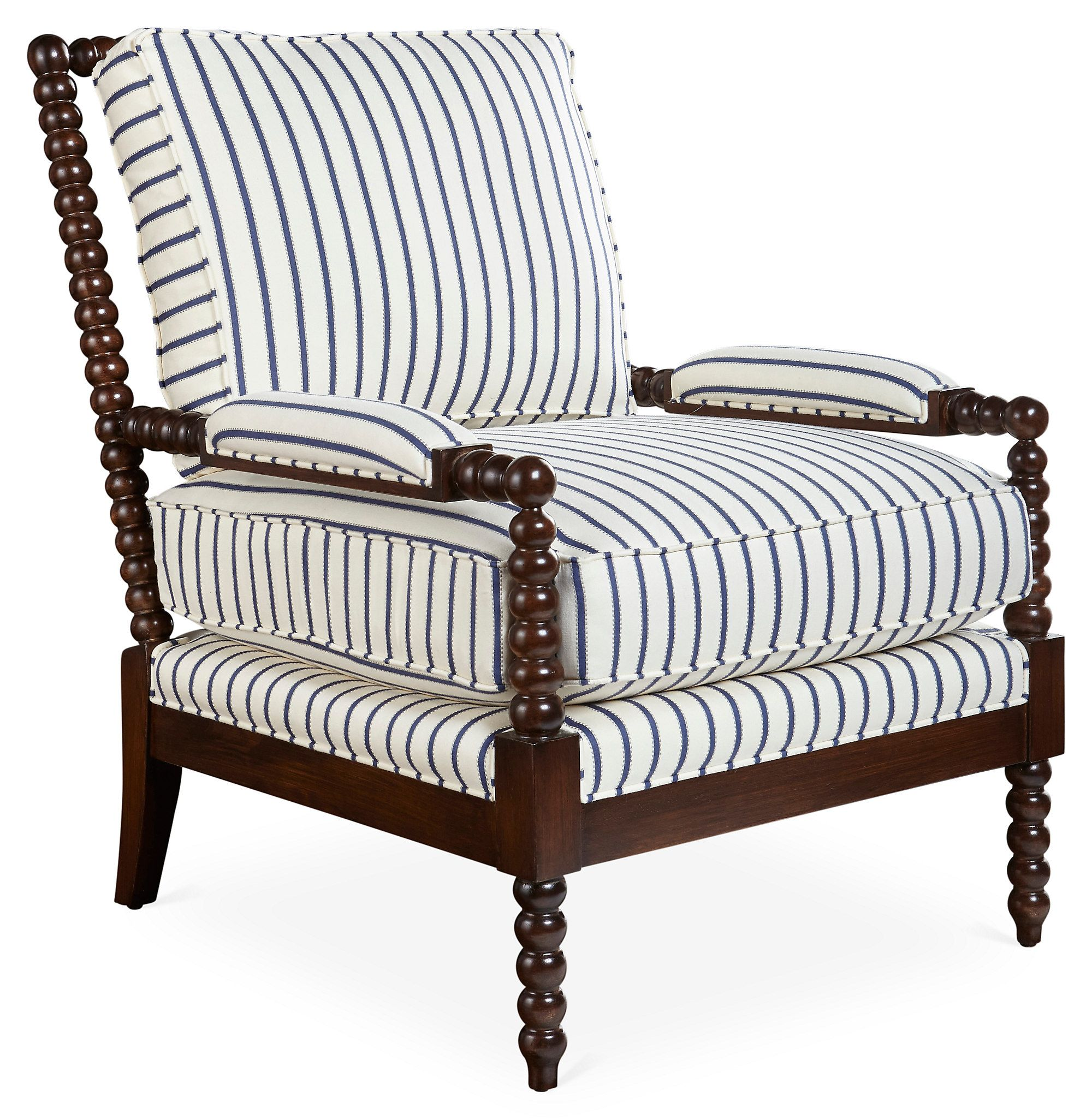 Blue And White Striped Chair Bankwood Spindle Chair Navy Stripe One Kings Lane