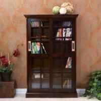 SEI Sliding Door Glass-Front Media Cabinet, White:Amazon:Home & Kitchen