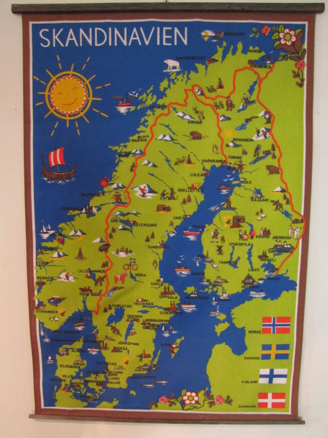 Vintage Linen Souvenir Scandinavian Pictorial Folk Art Wall Map ...