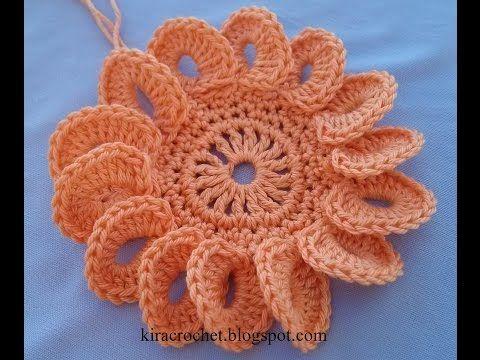 Crochet Flower Tutorial Very Easy Youtube Crochet 15