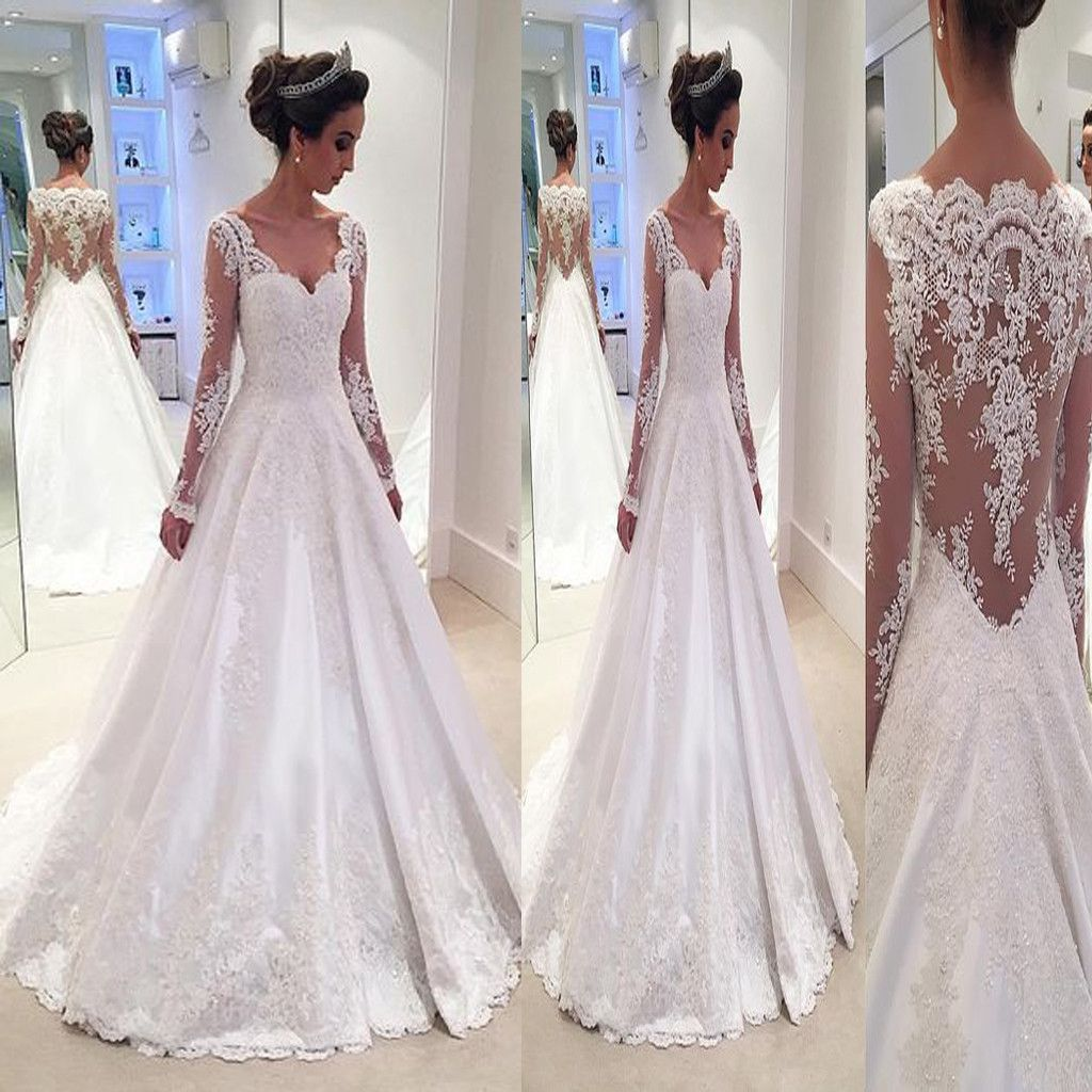 Vintage Lace With Long Sleeves See Through Ball Gown Formal Wedding Dresses The wedding dresses are fully lined, 4 bones in the bodice, chest pad in the bust, lace up back or zipper back are all avail