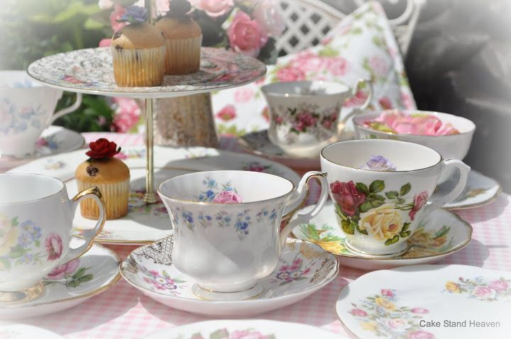 Beautiful Floral Eclectic Vintage China Tea Set And