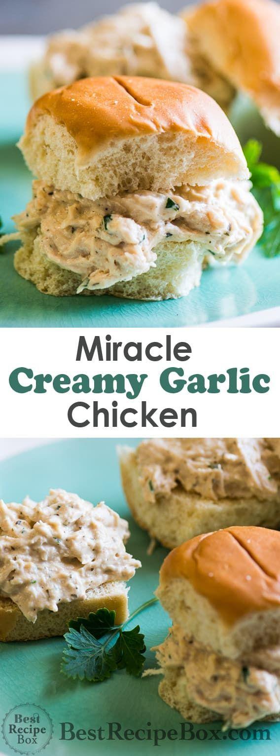 Slow-Cooker Miracle Garlic Chicken #creamygarlicchicken Miracle Creamy Garlic Chicken in Slow Cooker is AMAZING   @bestrecipebox #creamygarlicchicken
