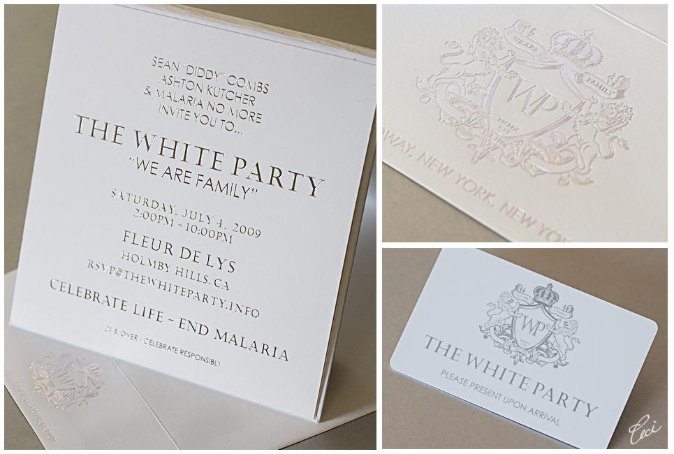 Sean Diddy Combs White Party Event Invitations Details