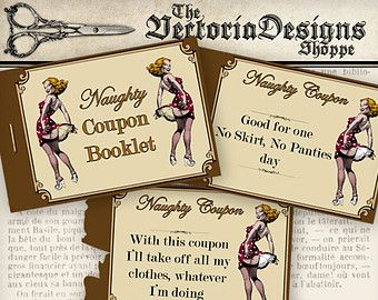 Printable Naughty Coupons Printable Man Gift by VectoriaDesigns