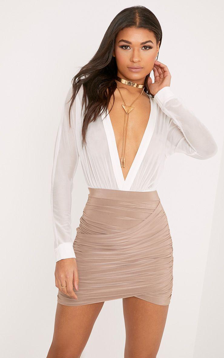 Sabina Taupe Ruched Layered Mini Skirt