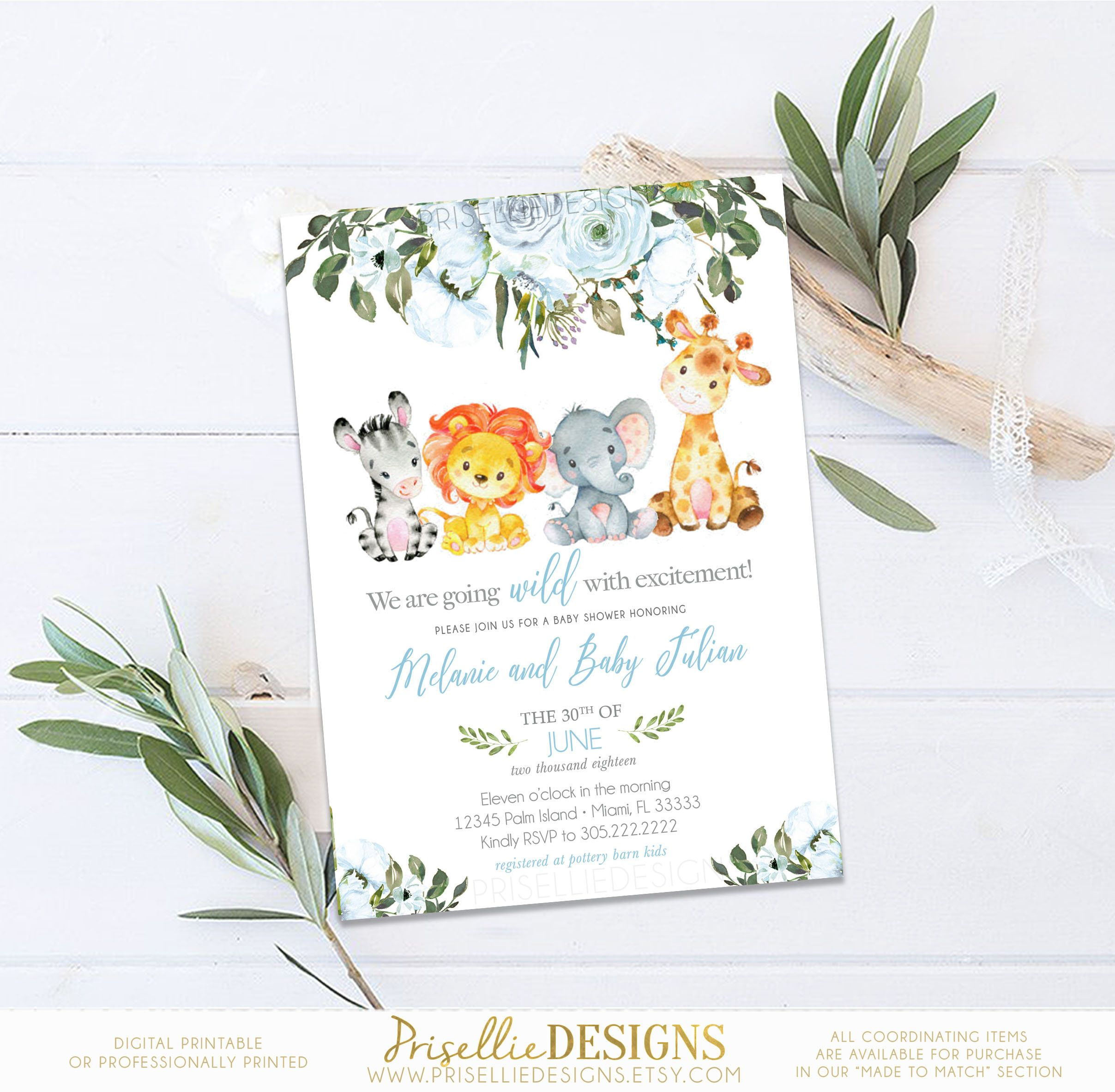 Safari Baby Shower Invitation, Greenery Botanical Floral Baby Shower Invitation,