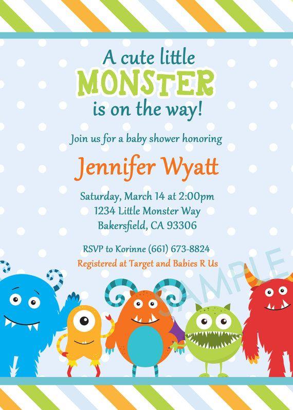 Little Monster Baby Shower Invitation By Pocketfulostationery