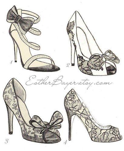 high heeled shoe fashion illustration original black and white valentino drawing