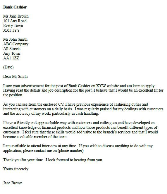 Awesome Bank Cashier Cover Letter Example