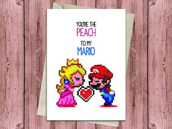 Mario Peach Birthday Or Anniversary Card Super Mario Cute Card