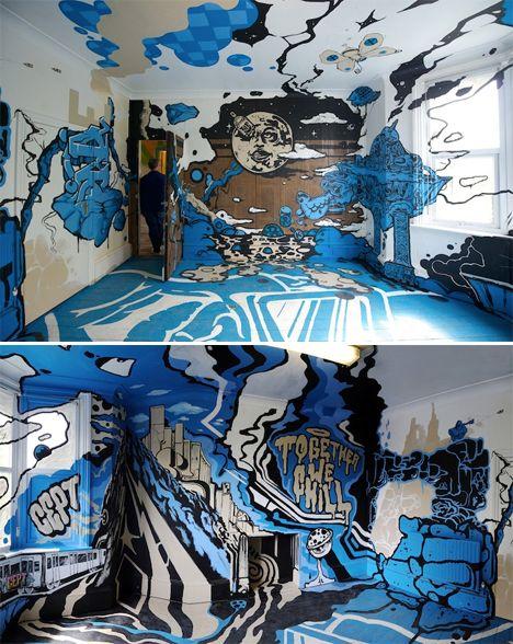 Disorienting Design 14 Trippy Art InteriorsPainted