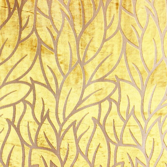 Mimosa Yellow Leaves Fabric By The Yard Upholstery Fabric Curtain Fabric Wholesale Fabric Velvet Fabric Designer Fabric Modern Leaf Pattern Fabric Patterns Prints Velvet Upholstery Fabric Yellow Leaves