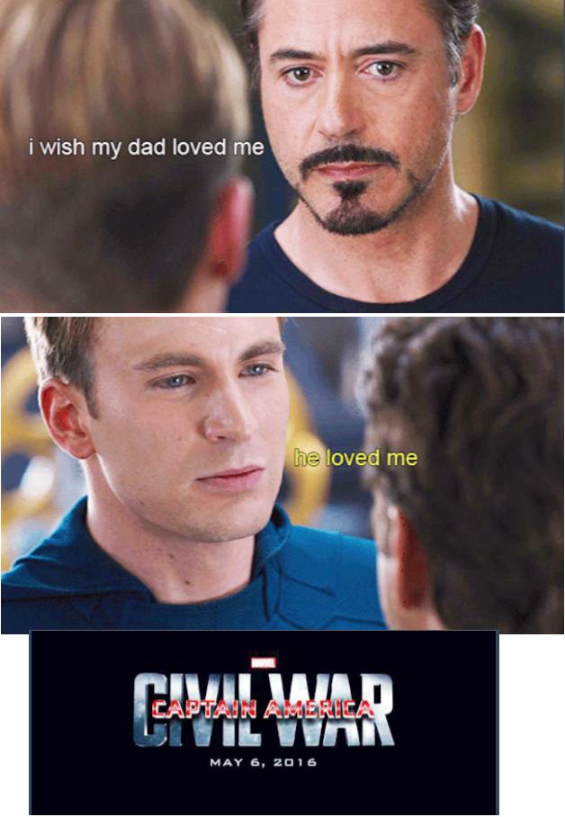 It's all Howard's fault! | Captain america civil war meme ...