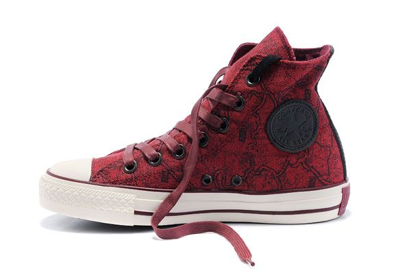 New Converse Chuck Taylor All Star Deep Wine World Map High Top Canvas Shoes