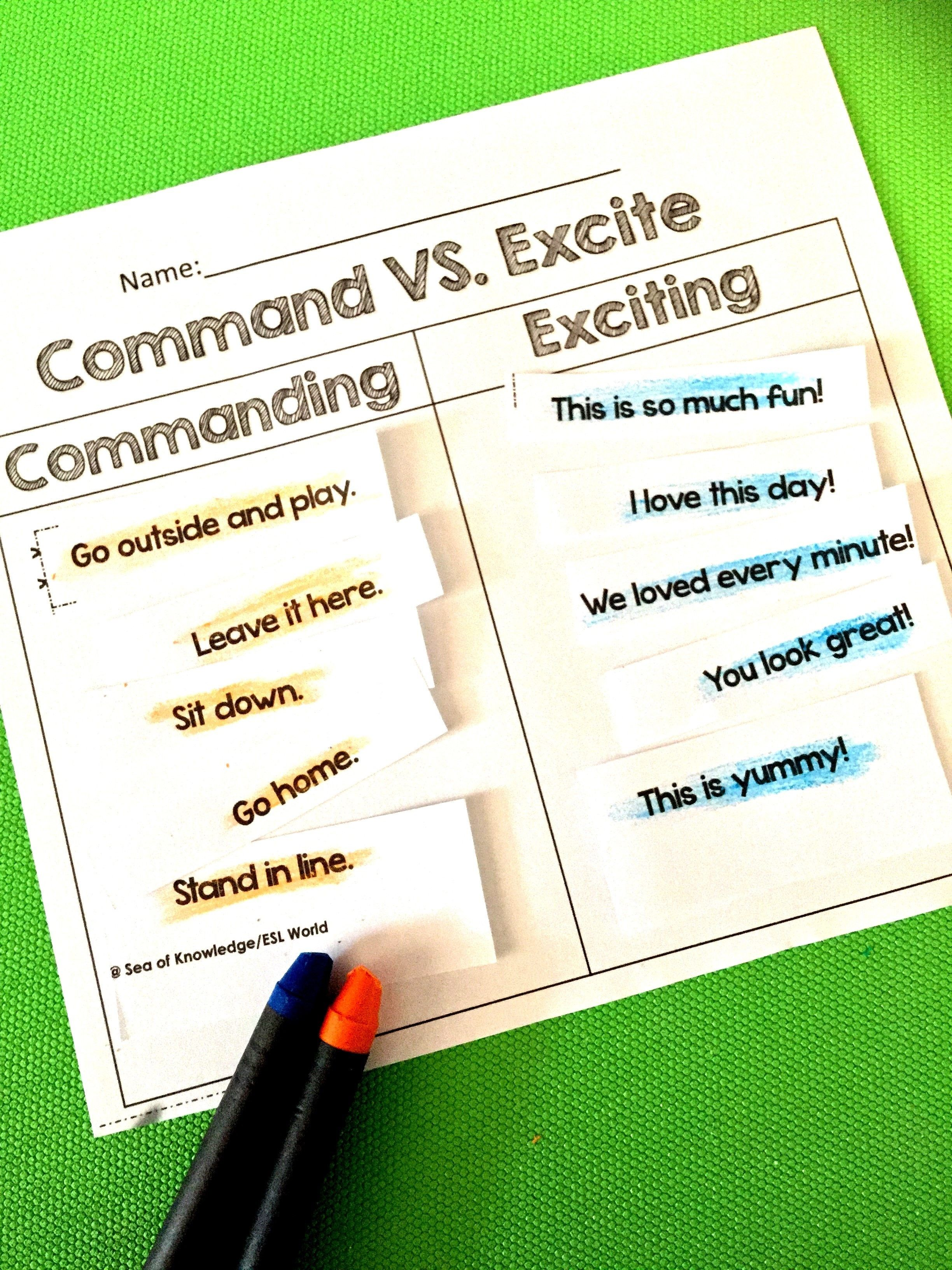 Sentence Types Activities And Centers Asking Telling